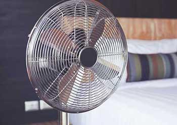 fan in a bedroom